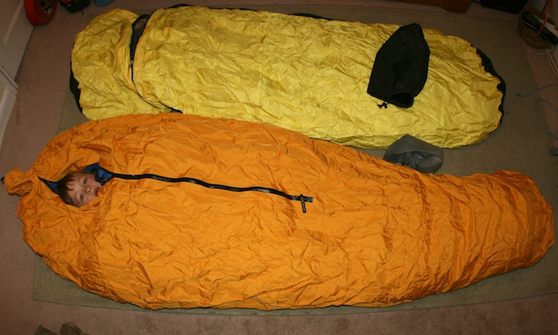 Integral Designs Penguin bivy shown side by side with the Bibler Big Wall Bivy.