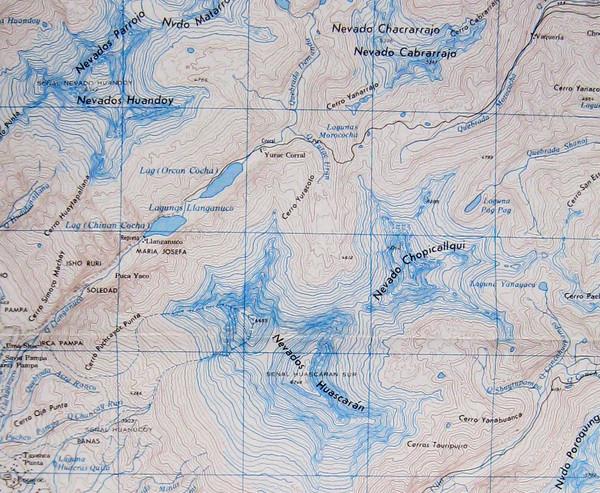 Cordillera blanca map sketch picture